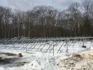 Racking in place for Nature's Classroom ground-mounted solar